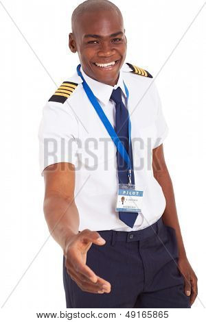 friendly young african pilot handshake gesture isolated on white background