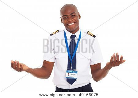 smiling young african pilot isolated on white