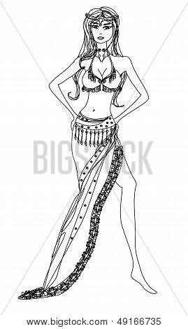 Belly Dancer , Hand Drawn Illustration