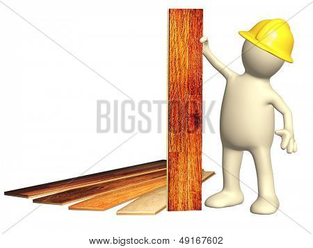 Puppet with new parquet planks. Isolated over white