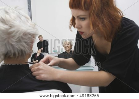 Happy female stylist giving haircut to senior woman's hair in salon