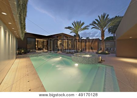 Lit swimming pool and exterior of Californian home