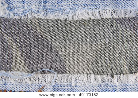 Blue denim jeans border texture