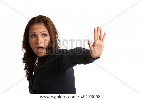 Serious Asian Female Says No Isolated with Hand Sign