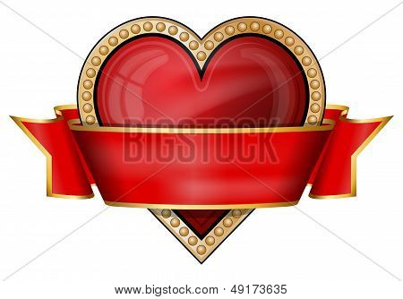 Hearts. Card Suit Icons With Ribbon