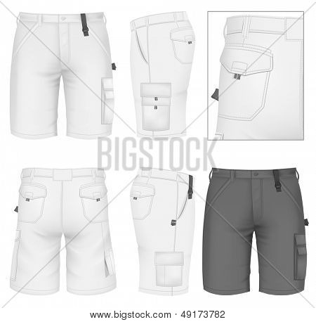 Photo-realistic vector illustration. Men's Bermuda shorts design templates (front, back and side views). Illustration contains gradient mesh.