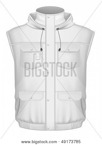 Photo-realistic vector illustration. Men's hooded body warmer design templates (front view). Illustration contains gradient mesh.
