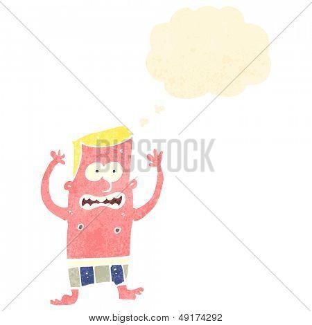 retro cartoon sunburnt man