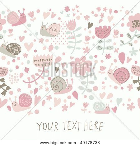 Stylish floral design with cute snails in pastel colors. Seamless pattern can be used for wallpapers, pattern fills, web page backgrounds,surface textures. Gorgeous seamless floral background
