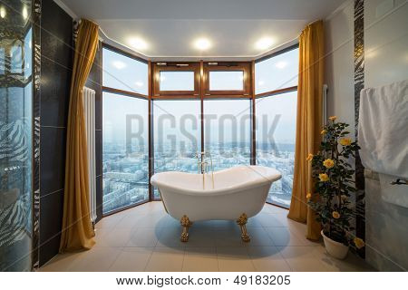 MOSCOW - DEC 16: Beautiful bathtub in the bathroom at the Triumph Palace Hotel on December 16, 2012 in Moscow, Russia. Building height of 264.1 meters is the tallest residential building in Europe.