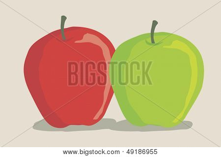 red and green apple in a simple way