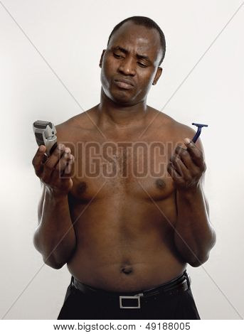 African american with razor, isolated on white background