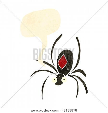 retro cartoon black widow spider