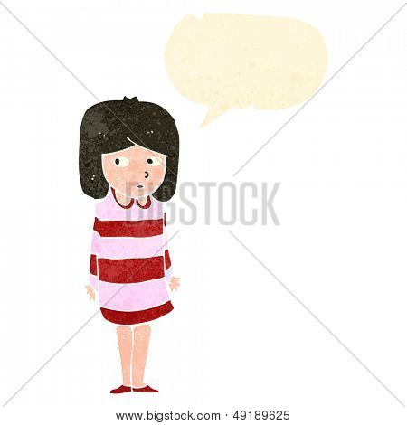 retro cartoon worried woman