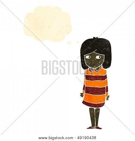 retro cartoon suspicious girl