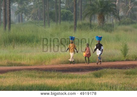 Two Women And A Boy At Pirang In The Gambia