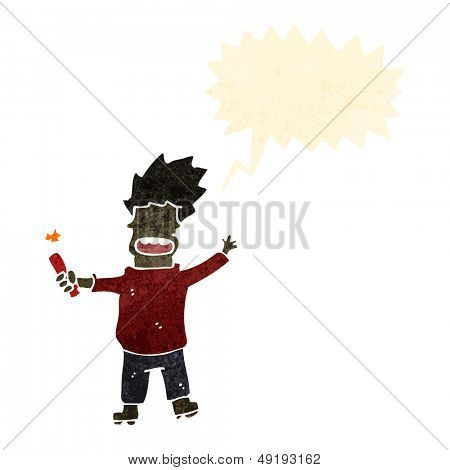 retro cartoon boy with stick of dynamite