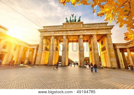 Brandenburg gate at sunset, Berlin