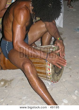 Boy Playing Drum In Ibiza