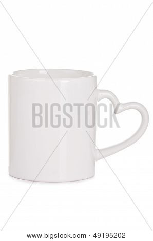 White Ceramic Cup With A Handle In The Form Of Heart