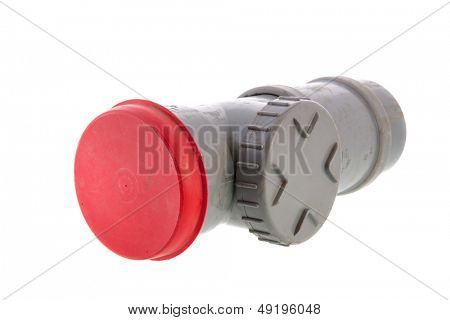 dirty PVC tube for sewer isolated over white background