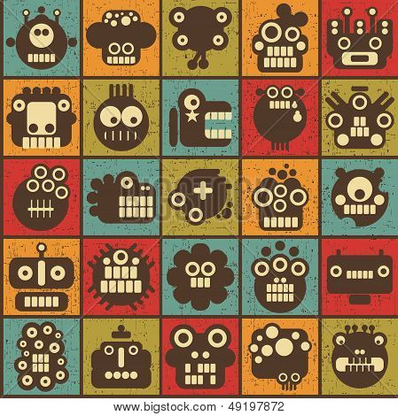 Robot and monsters cell seamless background.