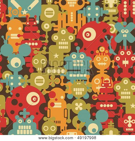 Robot and monsters modern seamless pattern.