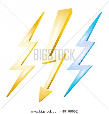 Lightning set isolated on white background