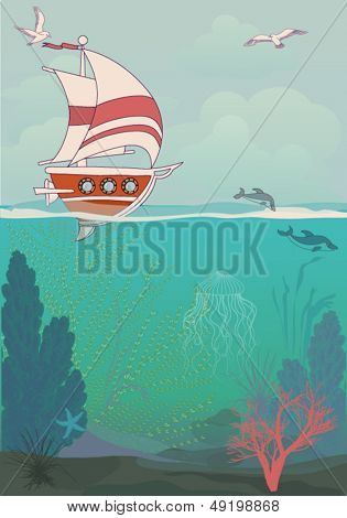 Sailing Poster - Summer holidays poster, with sailing ship and underwater flora and fauna, including coral reefs, dolphins, sea grass and jellyfish