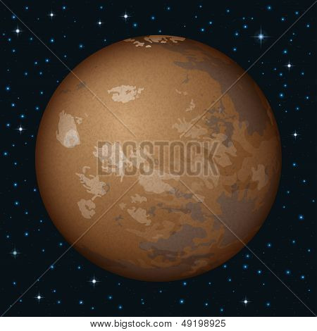 Planet Mars in space