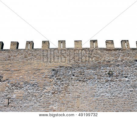 Exterior of medieval castle showing battlements. isolated on white background