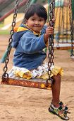 Cute Young Happy Indian Girl(kid) Playing On A Swing In A Park