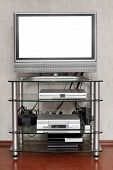 image of televisor  - TV set with cut out screen at home - JPG