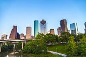 stock photo of bayou  - View on downtown Houston in late afternoon with skyscraper - JPG