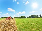 image of haystack  - Summer landscape with cowboy hat on haystack - JPG