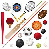 stock photo of shuttlecock  - A Vector Illustration Of Various Sports Equipment - JPG