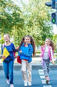 foto of pedestrian crossing  - Basic school students crossing the road - JPG