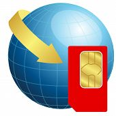 image of micro-sim  - Vector illustration of Sim card with globe and arrow - JPG