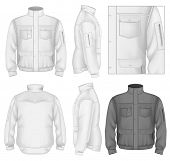 Photo-realistic vector illustration. Men's flight jacket design template (front view, back and side
