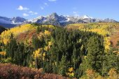 foto of mear  - Mount Sneffels range with fall color - JPG