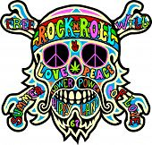 image of hippies  - hippie skull - JPG