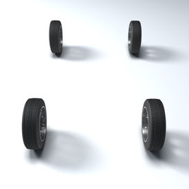 stock photo of four-wheel  - Four wheels 3d image fine illustration background - JPG