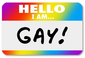 foto of queer  - Hello I Am Gay words on a nametag sticker to come out as a homosexual and announce your persuasion with pride to others - JPG