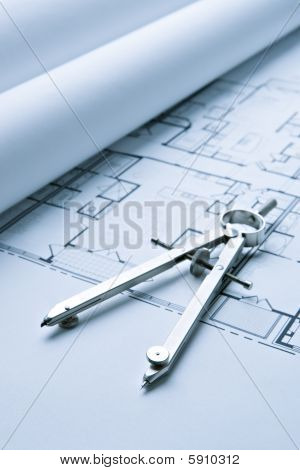 Blue Print Floor Plans With Drawing Compass