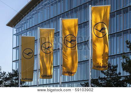 Lufthansa Flag With Lufthansa Symbol, The Crane