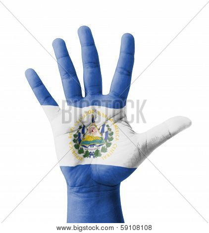 Open Hand Raised, Multi Purpose Concept, El Salvador Flag Painted - Isolated On White Background