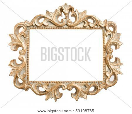 Ornate gold frame isolated on a white background