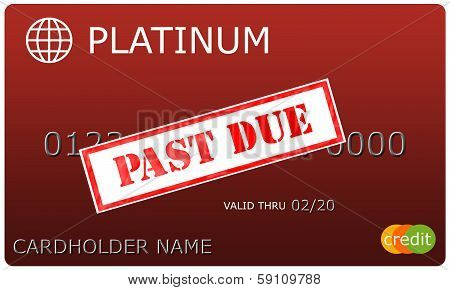 Platinum Red Credit Card With Past Due Sticker