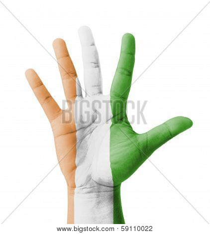 Open Hand Raised, Multi Purpose Concept, Ivory Coast Flag Painted - Isolated On White Background