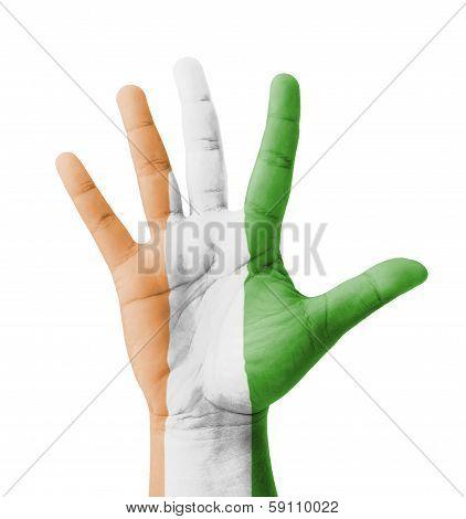 Open Hand Raised, Multi Purpose Concept, Ivory Coast Flag Painted - Isolated On White Background